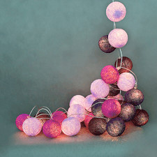 10 kul Violets Cotton Ball Lights