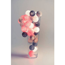 35 kul Grey Pink Cotton Ball Lights