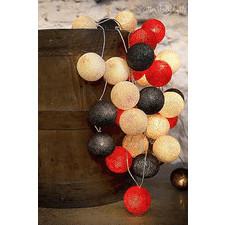 35 kul Warm Red Cotton Ball Lights