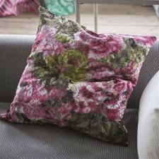Aksamitna poduszka 60x60cm Designers Guild w odcieniach fuksji i zieleni
