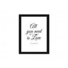 All you need is love 3, Plakaty w ramie - Czarny