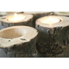 BARK 14cm - naturalny, drewniany świecznik