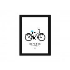Bicycle - hipster style , Plakaty w ramie - Czarny