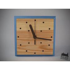 Błękitny zegar drewniany z drewna sosny