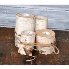 Brzozowe świeczniki - pieńki 4szt