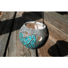 Ceramiczny lampion - Skalny turkus