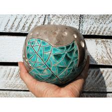 Ceramiczny lampion - Turkusowy liść L