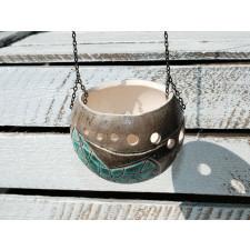 Ceramiczny lampion - Turkusowy liść M