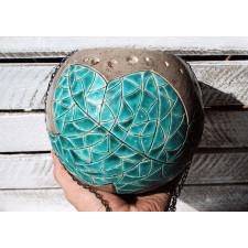 Ceramiczny lampion - Turkusowy liść XL
