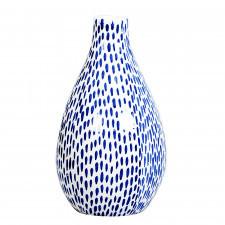 Ceramiczny wazon w ręcznie  malowane drobne niebieskie paski