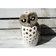 Ceramiczny, ręcznie malowany lampion - Sowa