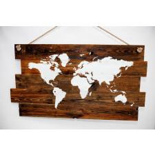 Dekoracja ścienna, obraz na drewnie, mapa świata
