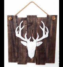 Dekoracja ścienna, obraz na drewnie, poroże jeleń