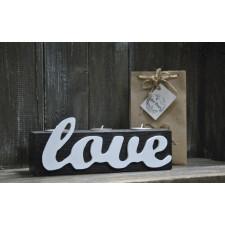 Dekoracja świecznik drewniany napis Love