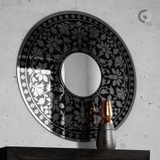 Dekoracyjne, okrągłe lustro ornamentowe Ozis