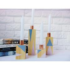 drewniane świeczniki 4 sztuki