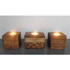 Drewniane świeczniki z kostki od palety 3 sztuki