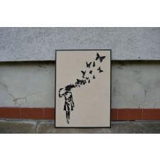 Drewniany obraz Banksy Abstrakcja