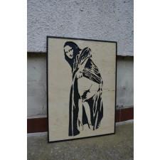Drewniany obraz Banksy Mona Lisa