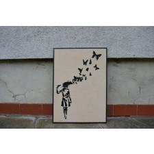 Drewniany obraz Banksy Motyle
