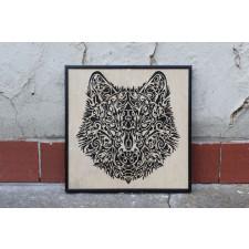 Drewniany obraz Wilk