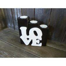 Drewniany świecznik LOVE