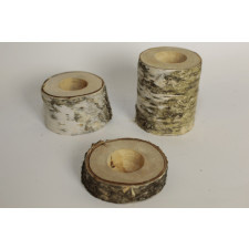 drewniany świecznik, świecznik drzewa, zestaw