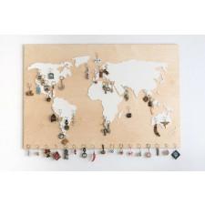 Duża drewniana mapa świata 120 x 80 cm