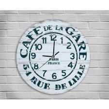 Duży Zegar Drewniany Malowany Caffee Kawa Retro