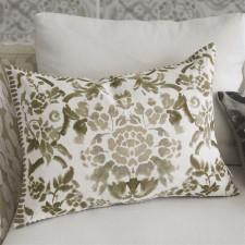 Dwustronna lniana poduszka z beżowym motywem kwiatowym
