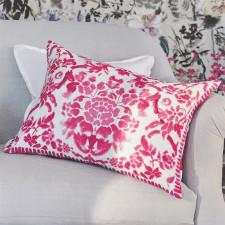 Dwustronna lniana poduszka z różowym motywem kwiatowym