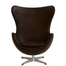 EGG CHAIR Skórzany fotel, brązowy