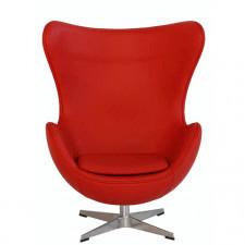EGG CHAIR Skórzany fotel, czerwony
