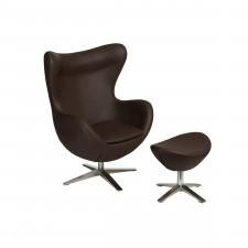 Fotel + podnóżek ekoskóra D2 Jajo 524 brązowy