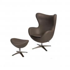 Fotel + podnóżek ekoskóra 82x110x74cm D2 Jajo 533 khaki