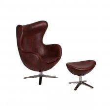 Fotel + podnóżek ekoskóra 82x110x74cm D2 Jajo 534 kasztanowy