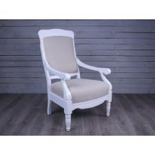 Fotel biało- beżowy SHABBY CHIC R91