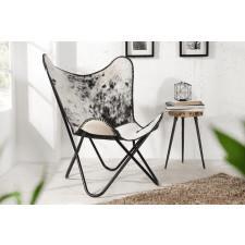 Fotel Butterfly biel czerń skóra bydlęca 95cm (Z36