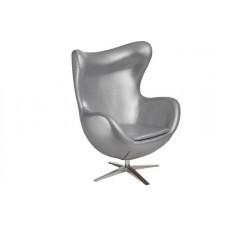 Fotel Jajo inspirowany Egg szeroki eko skóra - srebrny