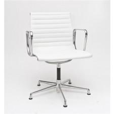 Fotel konferencyjny CH inspirowany EA108 skóra, chrom - biały