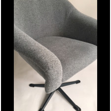 Fotel obrotowy szara jodełka , lata 70.