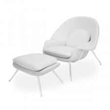 Fotel Snug z podnóżkiem inspirowany Womb chair - biały