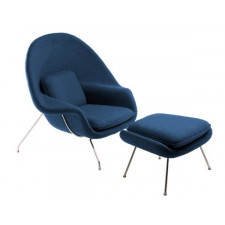Fotel Snug z podnóżkiem inspirowany Womb chair - niebieski