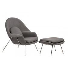 Fotel Snug z podnóżkiem inspirowany Womb chair - szary jasny