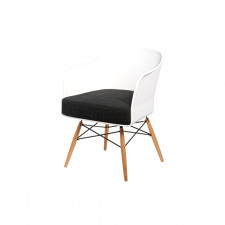 Fotel Viva biały z grafitowa poduszką