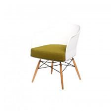 Fotel Viva biały z oliwkową poduszką