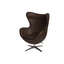 Fotel z ekologicznej skóry Jajo 524 brązowy