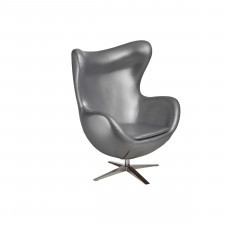 Fotel z ekologicznej skóry 82x110x74cm Jajo 528 srebrny