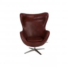 Fotel z ekologicznej skóry 82x110x74cm Jajo 534 kasztanowy