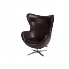 Fotel z ekologicznej skóry Jajo brązowy ciemny